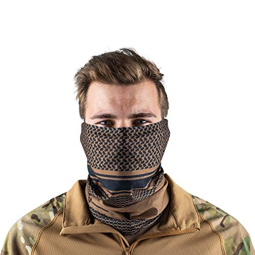 Terra Kuda Face Clothing Neck Gaiter Mask - Non Slip Light Breathable for Sun Wind Dust Bandana Balaclava (Coyote Shemagh)