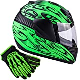 Typhoon Youth Kids Full Face Helmet with Shield & Gloves Combo Motorcycle Street Dirt Bike - Matte Green (Large)