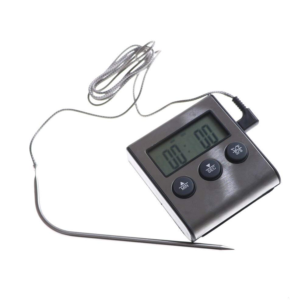 Temperature Gauges - Digital Probe Oven Meat Thermometer Timer Food Cooking Stainless Steel - Humidity Barometer Pools Fridge Gauges Automotive Indoor Large Pits Motorcycles Temperature Trucks