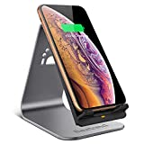 Bestand Wireless Charger, Qi Wireless Charger Stand Compatible with iPhone XR/XS Max/XS/X / 8/8 Plus, Samsung Galaxy S9/S9+/S8/S8+/S7/Note 8, and More (No AC Adapter) - Grey ...