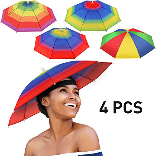 4 Pieces Rainbow Umbrella Hat Adjustable Sun-rain Umbrella Hat for Adults and Kids (Color Set 3)]()