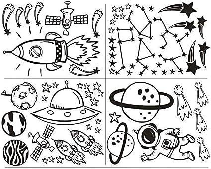 Arte pegatinas de pared jard/ín de infantes decoraciones de la habitaci/ón estrellas luna b/úho vinilos decorativos61x42cm