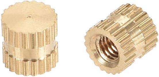 sourcing map M3 x 5mm DO Tuercas de inserci/ón roscadas y moleteadas de lat/ón 50 pcs x 5mm L