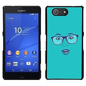 "For Sony Xperia Z3 Plus / Z3+ / Sony E6553 (Not Z3) , S-type Cara atractiva Gafas Labios azules de la mujer"" - Arte & diseño plástico duro Fundas Cover Cubre Hard Case Cover"