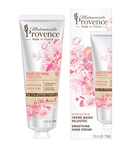 (Mademoiselle Provence Natural Shea Butter Organic Rose Hand Cream with Peony Extracts, Moisturizing and Smoothing French Hand Lotion, Hydrating Vegan Hand Care, Cruelty Free 2.5 fl oz)