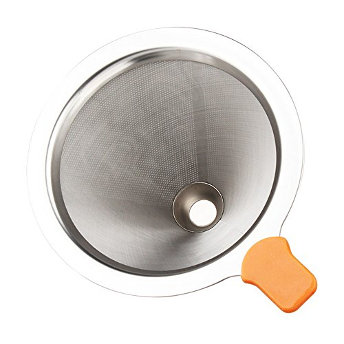 Awayyang 2 Pcs Coffee filter mesh, stainless steel coffee filter cup, drip pot, filter paper, fine funnel filter screen