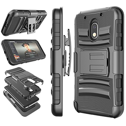 Moto G4 Play Case, Moto G4 Play Holster Belt, Tekcoo [Hoplite Series] Shock Absorbing [Black] Locking Clip Defender Heavy Full Body Kickstand Carrying Armor Cases Cover for Motorola Moto G Play (Boost G Mobile Phones Case Moto)