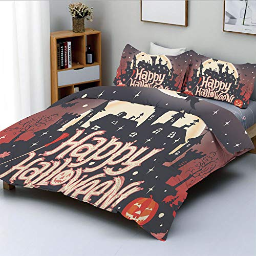 Duplex Print Duvet Cover Set King Size,Medieval Gothic Castle with Happy Halloween Typography Stars Bats Moon CheerfulDecorative 3 Piece Bedding Set with 2 Pillow Sham,Multicolor,Best Gift for Kids & -