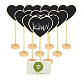 KIWI SWEET MINI Portable Heart Blackboard Chalkboard Wooden Message Board Holder with stand for Party wedding table Number/place card setting decoration,set of 10