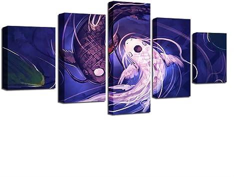 BAIOKAISHUII Leinwandbilder f/ür Wohnzimmer Wandkunst 5 St/ück Strand blau Palmen Gem/älde HD-Drucke Seest/ück Poster Home Decor-Rahmenlos