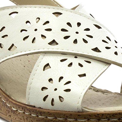White Softlites Comfort Womens Weiß Sandal Strap Cross B4BSqw8