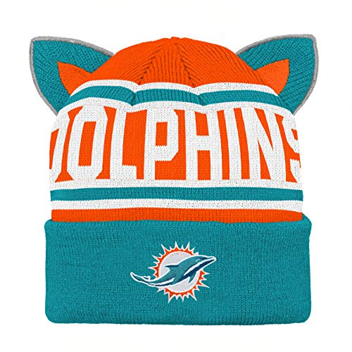 Outerstuff NFL Miami Dolphins Team Ears Fleece Knit Hat Aqua, Infant One Size
