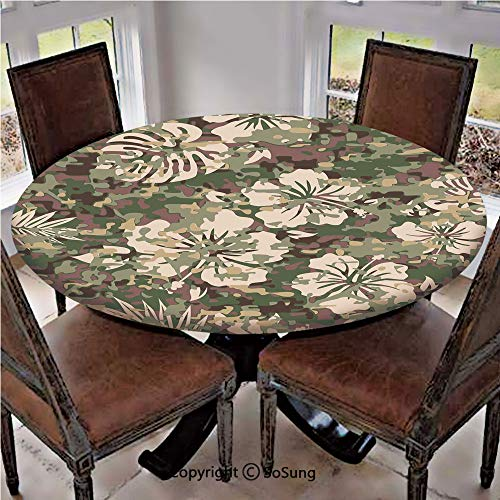 Elastic Edged Polyester Fitted Table Cover,Aloha Hawaiian Tropical Jungle Forest Hibiscus Flowers Leaves Nature,Fits up 40