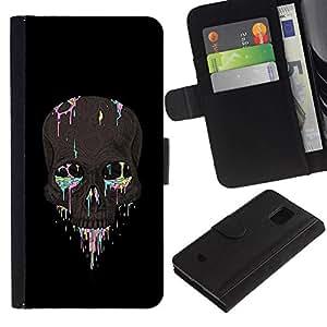 All Phone Most Case / Oferta Especial Cáscara Funda de cuero Monedero Cubierta de proteccion Caso / Wallet Case for Samsung Galaxy S5 Mini, SM-G800 // Rainbow Skull Paint Artist Rock Biker