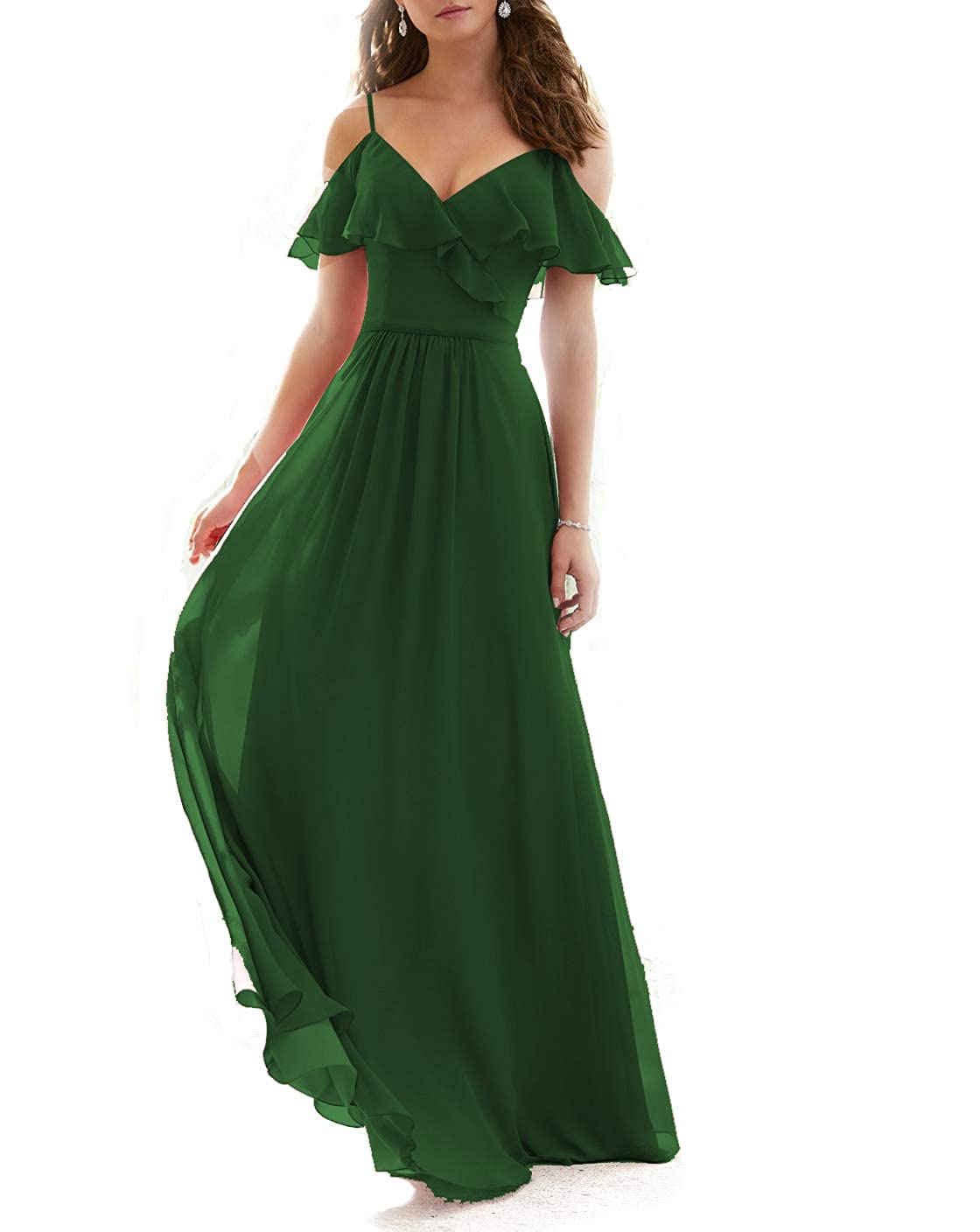 Emerald Green Stylefun Ruffled VNeckline Bridesmaid Gowns Spaghetti Straps Long Prom Party Dress for Women's KN003