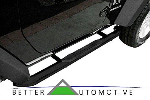 BETTER AUTOMOTIVE B2A2M1910, 2007-2017 Jeep Wrangler 2 Door, Round Side Bar Step Nerf Bars Running Boards, Black
