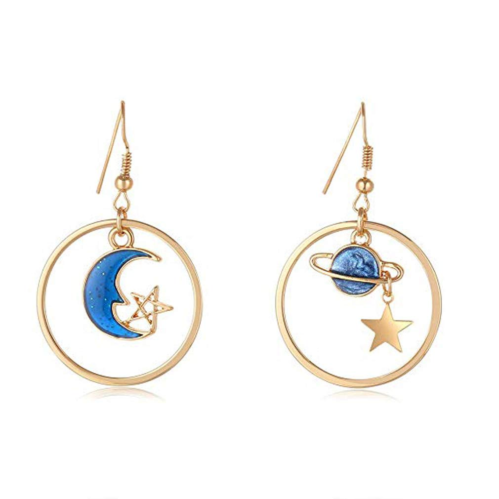 1Style 5 Pairs Enamel Moon Star Earth Planet Drop Hook Earrings Long Pendant Dangle Jewelry for Woman Girls