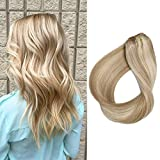 Clip in Hair Extension Remy Human Hair 70grams 7pcs Beige Blonde and Bleach Blonde Mixed Hair Extensions 18 inch Clips in Hairpieces for Full Head, Color #18/613