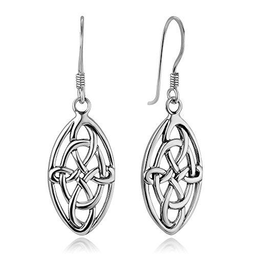 (925 Sterling Silver Open Celtic Knot Knotwork Symbol Marquise Shaped Dangle Hook Earrings 1.5