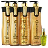 Keratin Cure 0% Formaldehyde Gold & Honey Bio-Brazilian Professional Hair Treatment 32.5 fl oz - 5 piece kit Gold & Honey 960 ML with Serum