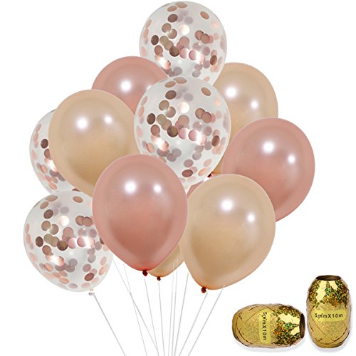 Rose Gold Confetti Balloons Set 12 inch Helium Champagne Rose Gold Latex Balloons for Birthday, Weddings, Baby Shower Party Decorations 30pcs