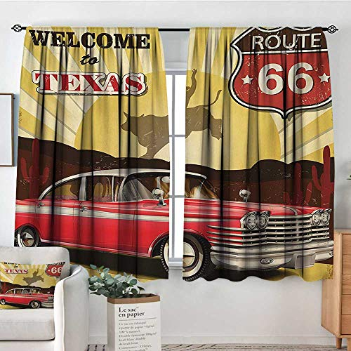 "All of better Vintage Room Darkening Curtains Welcome to Texas Signboard Poster with Cadillac Art Car Cowboys Town Rodeo Design Door Curtain Blackout 55"" W x 39"" L Multicolor"