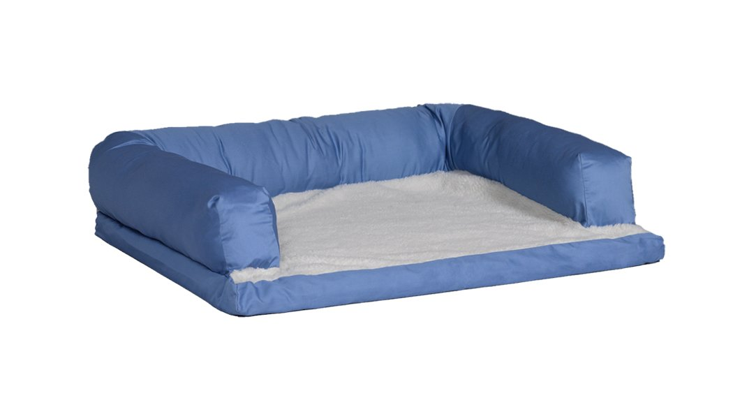 MidWest Quiet Time e'Sensuals Bolstered Orthopedic Pet Bed Sofa 36 Inches by 54 Inches in Light Blue