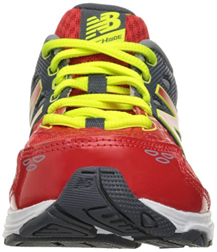 New Balance KR680 Youth Running Shoe (Little Kid/Big Kid), Grey/Red, 2 M US Little Kid