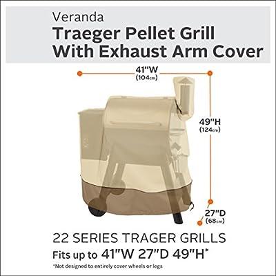 Classic Accessories Veranda 34 Series Traeger Pellet Grill with Exhaust Arm Cover