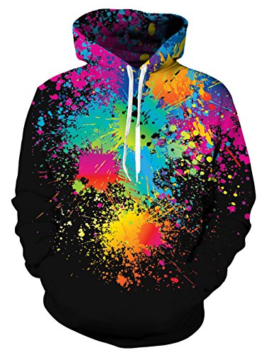 UNIFACO Splatter Couple Hoodies Neon Printed Hoodies 3D Graphic Jumpers Sportswear Black Medium -