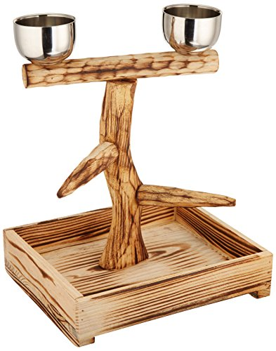 Penn Plax Bird Perch With 2 Stainless Steel Feeding Cups and Wood Drop Tray (10.5