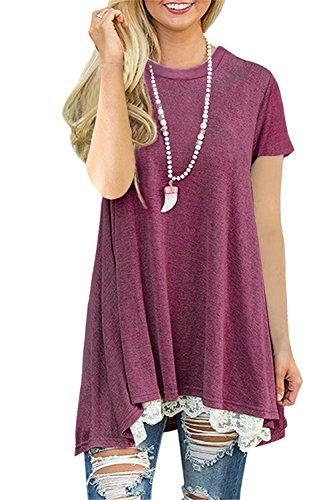 FERYSHE-Womens-Lace-Short-Sleeve-A-Line-Tunics-Blouse-Shirt-Tops