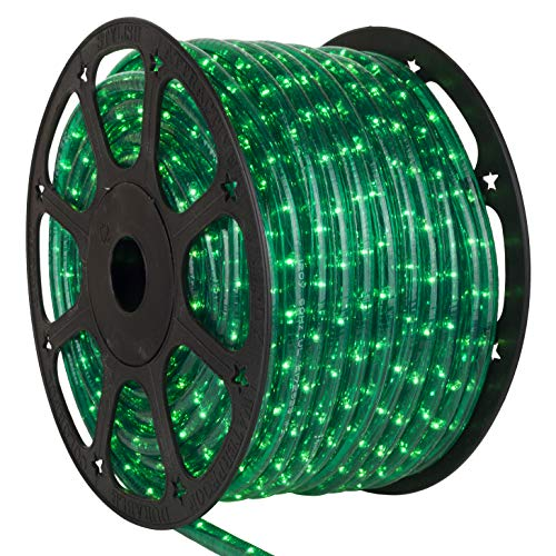 Wintergreen Lighting Incandescent Rope Light Kit - Light Rope Outdoor, Christmas Light Rope Light Color - Includes Power Cord, 120V, ½ Inch, 2-Wire (150' Spool, Green) ()