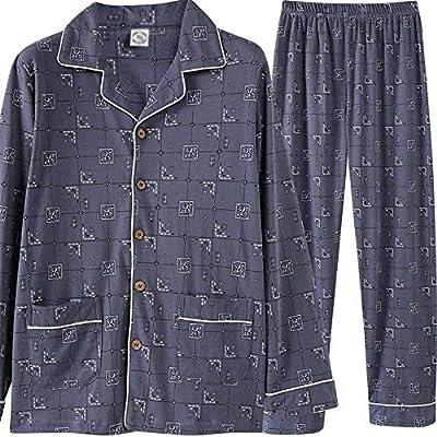Pijama de algodón para hombre Set Algodón de manga larga Cardigan ...