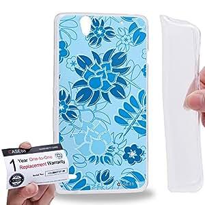 Case88 [Sony Xperia C4 / C4 Dual] Gel TPU Carcasa/Funda & Tarjeta de garantía - Art Fashion Sky Blue Painted Fashionista Floral