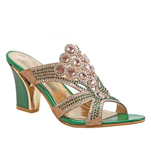 YE Damen Peep Toe Pantoletten Chunky Heels Glitzer Sandalen mit Strass und Blockabsatz Modern Freizeit Schuhe 7icUhSp5g