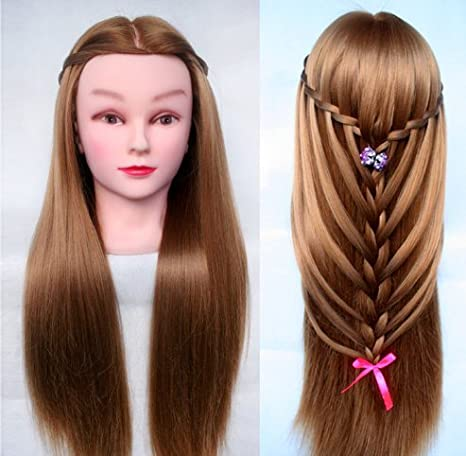 TOPBeauty Golden Synthetic Hair Hairdressing Practice Training Head Doll Mannequin With Clamp