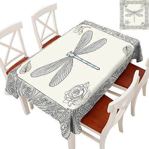 Cottage Accessories Rose Petal (Dragonfly Fabric Dust-Proof Table Cover Hand Drawn Royal Ancient Style Rose Petals Leaves and Ornate Figures Design Waterproof/Oil-Proof/Spill-Proof Tabletop Protector Black Light Blue 60