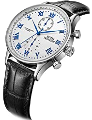 BUREI Mens Multifunction Chronograph Sports Watch with Blue Hands White Dial and Black Leather Band