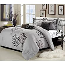 Chic Home Cheila 8-Piece Comforter Set, Queen, Silver