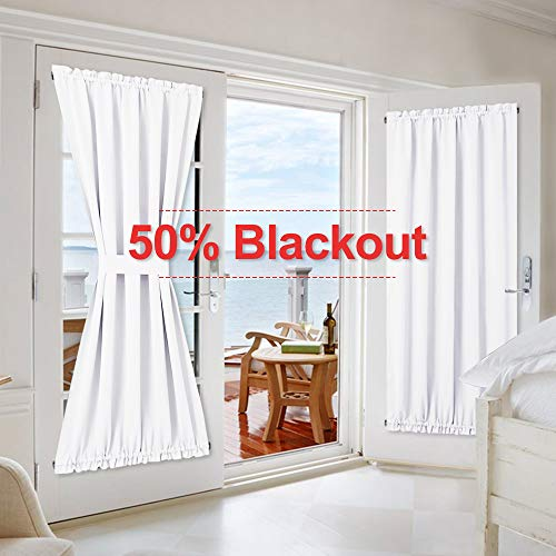 NICETOWN Pure White Patio Door Panel - 50% Sunlight Blocking French Door Curtain/Drape/Drapery (54 inches Width x 72 inches Length, 1 Panel) (Patio Lace Panels)
