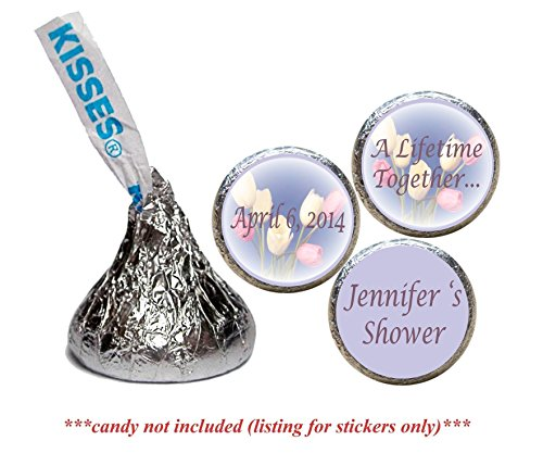 Tulip Stickers for the bottom of chocolate Kisses, Personalized (set of 108)(RTulips) Lifesaver Baby Shower Favors