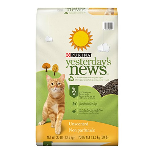 Purina Yesterday's News Non Clumping Paper Cat Litter; Unscented Low Tracking Cat Litter - 30 lb. - Litter Paper
