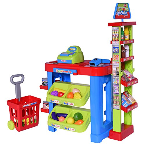 Ivation Kids Supermarket Center With Shopping Basket  Checkout Counter  Cash Register  Item Scanner  Shelves   Racks   Includes Various Pretend Foods   Play Money