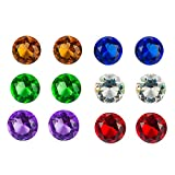 Treasure Gems - 12 Pack Crystal Glass Round Diamond Jewels in Assorted Colors Party Decoration, Table Scatters, Vase Fillers, Wedding, Arts Crafts