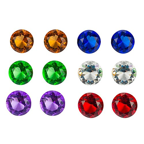 Juvale 12 Pack Diamond Acrylic Jewel Gems for DIY Crafts and Decor, Assorted Colors 1.75 x 1.75 x 1.25 Inches (Big Gems)