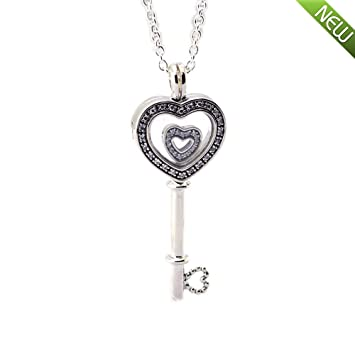 5807be9f8 PANDOCCI 2018 Valentine Gift Floating Locket Heart Key Necklace, Sapphire  Crystal&Clear CZ 925 Silver Fashion