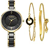 MAMONA Women's Watch & Bracelet Gift Set Ladies Stainless Steel/Ceramic Watch Black L3887BKGT