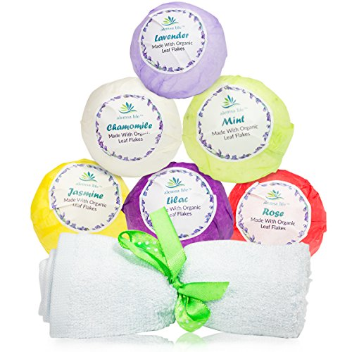 Best Bath Bombs Gift Set For Women, Mom, Girls, Teens, Her, 6 Large Lush Natural Organic Fizzies With Essential Oils Helps Moisturize Dry Skin, Relaxing Bubble Spa Bath Birthday Gift Idea For Her.