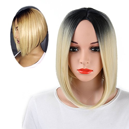Netgo Ombre Blonde Bob Wig Short Straight Synthetic Blonde Wigs Middle Part Natural Hair Wigs for Women None Lace (Mermaid Wig In Blonde)